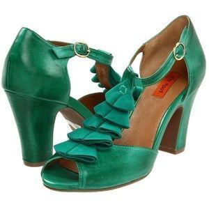 Miz mooz emerald green sailor retro ruffle heels